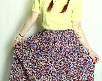 Skirt pleated vintage 90s multicolor flowers