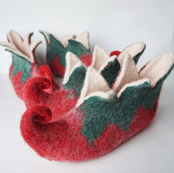 set slippers slippers red white slippers felt family Elf felt felted slippers women green men Elf wool slippers felted Elf booties BE1nwqYcA