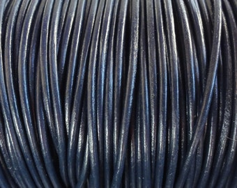 1.5mm Navy Blue Leather Cord - 10 Yard Increments