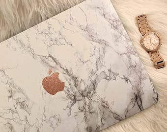 Marble MacBook Hard Case with Glitter Vinyl Logo | White Marble | Air 11 13 | Pro 13 15 | Retina | Touchbar