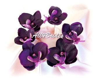 Grape Purple orchid flower hair pin, bridal wedding day hair accessories, set of six hair flower pins