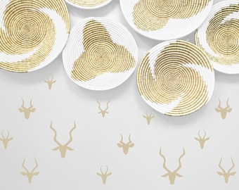 African decorations for the home - Set of Antelope Decals - African Decor - Various Gazelle Stickers