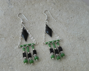 Earrings ethnic diamond enamel black