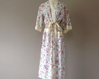 M  / Long Kimono Robe / Vintage Lingerie Sleepwear / Medium