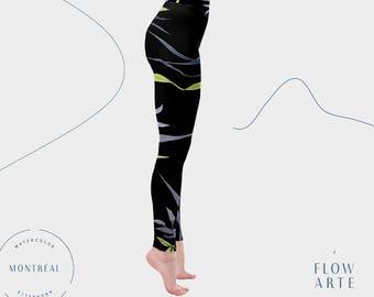 Black Yoga Leggings, Dancer Leggings, women's leggings, festival clothing, hula hoop clothing,  high waisted, botanical leggings, Aerial