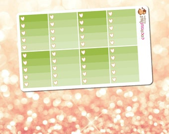 December / Green Ombre Heart Checklist Planner Stickers (Erin Condren Life Planner Monthly Colors)