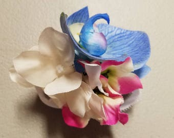 Blue Orchid Fuchsia Ivory Hydrangea Corsage or Boutonniere