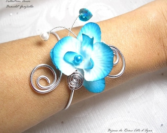 Wedding bracelet Orchid turquoise - Amor Graziella Collection - romantic wedding, aluminum and Orchid wedding jewelry bridal necklace