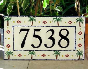 Tile House Number with Mini Palm Trees Address Plaque Outdoor  Home Address Plaque Blue or Brown Border