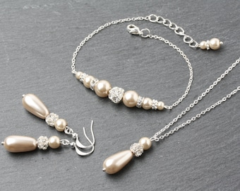 Champagne Pearl jewelry set, Champagne Earrings and Necklace Set, Champagne wedding Jewelry, bridesmaid jewelry set, champagne  jewelry
