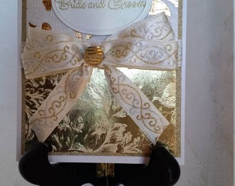 Handmade Handcrafted Beautiful Sparkly Gold and White Wedding Card