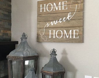 Home Sweet Home Rustic Wood Plank Sign with States