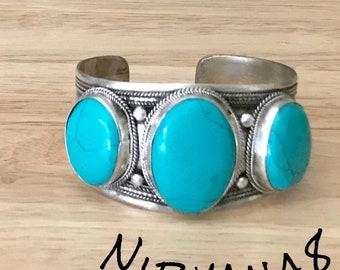 Turquoise Threestone  Cuff Bracelet