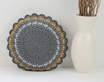 Crochet Cushion/Crochet Pillow/Round Cushion/Round Pillow/Crochet/Cushion/Round Crochet Pillow/Grey/Gray and Mustard/Vintage style