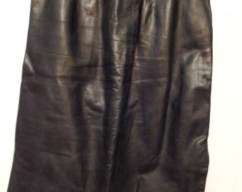 VINTAGE 1980'S Black Leather Skirt (available)