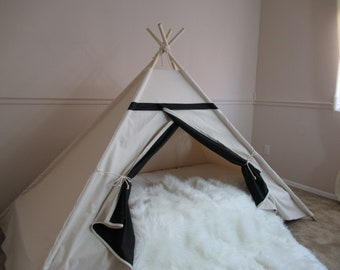 Two-tone bed canopy teepee with flap window, tent bed canopy, teepee canopy for bed, kids Teepee,with canvas and Overlapping front doors