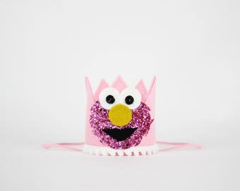 Elmo Birthday Crown | Elmo Birthday Girl Outfit for Cake Smash | Baby Girl Elmo First Birthday Outfit | Elmo Costume Elmo Outfit | Pink Elmo