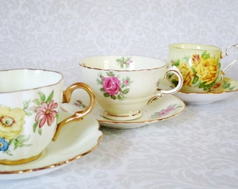 3 Tea Cups and Saucers Sets, Vintage Teacup and Saucer Sets, Pastel Home Decor, Wedding Bridal Gifts, Holiday Gift Ideas and Decorations
