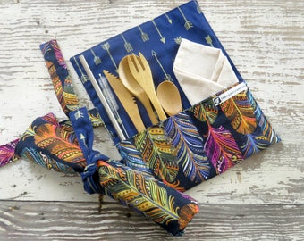 Zero waste lunch box utensils, On the go kit, zero waste kit, travel utensil case, zero waste silverware set, reusable straw, utensil roll