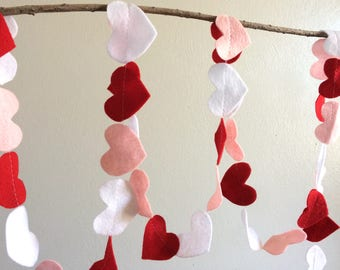 Valentines Day Felt Garland Pink Red and White Heart Decoration