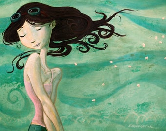 """8"""" x 10"""" Girl in the Wind Art Print by artist Shawn Hancock- Free Shipping to US for a limited time!"""