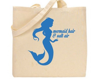 Mermaid Hair & Salt Air Tote Bag, grocery bag, eco-friendly, Mermaid bag