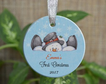 Personalized Christmas Ornament, Baby First Christmas ornament, Custom Ornament, Newborn baby gift, Snowman ornament, Christmas gift. o033