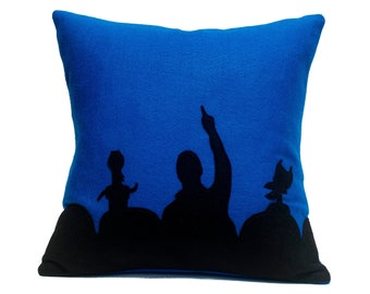 MST3K- Appliqued Eco Felt Pillow Cover in Black and Blue - 18 inches