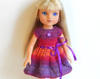 Knitted multi-colored dress 13 inches doll
