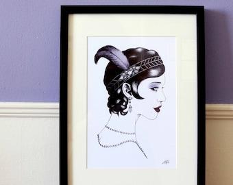 Art print Charleston / Portrait illustration / 12 x 8.3 inch / 30 x 21 cm / A4 size