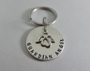 GUARDIAN ANGEL Hand Stamped Key Chain with Angel Charm - New Driver Gift - Guardian Angel Key Ring - Keychain - Sweet Sixteen -  Be Safe
