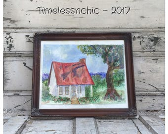 Large Framed Vintage Watercolor Painting - Old Cottage Watercolor Painting - Vintage Watercolor Painting - Large Ornate Picture Frame