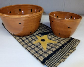 Brown Polka Dot Ceramic Mixing Bowl Set, Pottery Nesting Bowls