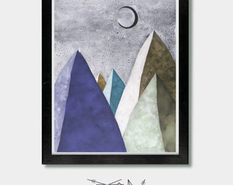 Hiking. We Shall Find. Mountain, Moon Art, Crescent Moon Art, Zen Art, Vegan, Yoga Decor, Yoga Art, Wall Decor, Moon Art
