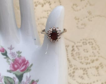 Deep Red and Clear Multi-stone Sterling Silver Ring