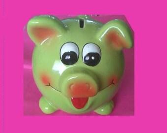 Green 10 inch Ceramic Piggy Bank