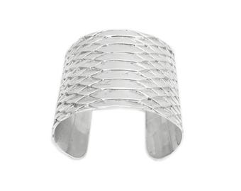 Cuff sterling silver embossed Python skin
