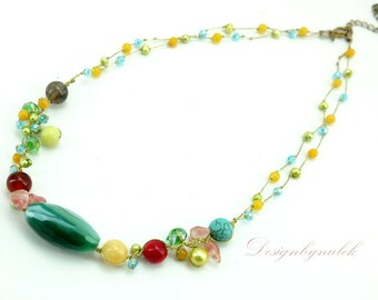 Green agate,carnelian,rose quartz on silk necklace.