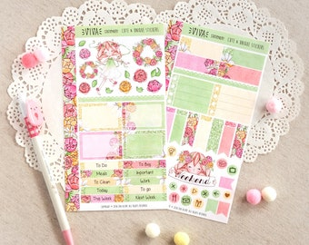 The Flowers of Tomorrow ~ Mini/Personal Size Planner Decorative Sticker Kit, two sheets ~ Diary, Journal, Kikki K, Kate Spade, Midori..