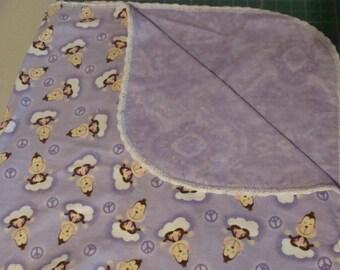 Brown Monkeys on Purple Flannel Baby Blanket