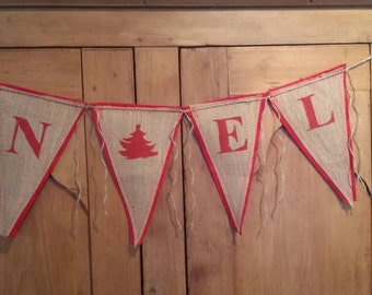 Upcycled NOEL Burlap Banner (Red with Red Felt Backing) Rustic Christmas Bunting Eco-Friendly Home Decor