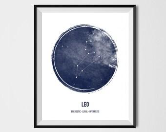 Leo Print, Zodiac Print, Printable art ,astrology print, Zodiac Sign, Constellation, Zodiac Art, Astrology Print, watercolor,Geometric print