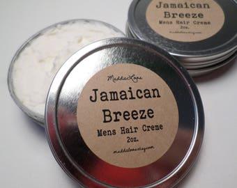 "FREE SHIPPING-VEGAN-Mens""Jamaican Breeze""Hair Creme 2oz.Mens Hair Cream(mens hair styling/smoothing cream- doesnt make hair crispy)"