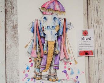 Elephant, steampunk, fantasy art, fantasy elephant, Indian elephant, gift for her, gift for women, skull art, steampunk art, skull, fantasy