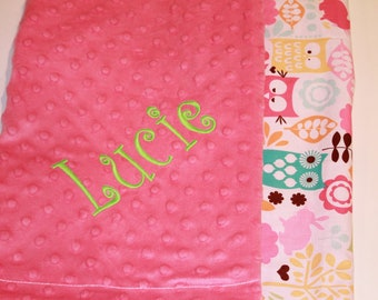 Watermelon Wildlife on Pink Minky, Baby Blanket