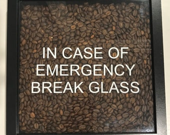 Coffee Lover Novelty Gift - Shadow Box Frame filled with Real Coffee Beans