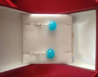Earrings turquoise blue glass beads