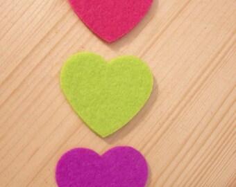 set of 3 hearts felt #2