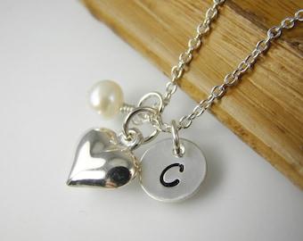 Flower Girl Necklace, Heart Charm Necklaces, Personalized Flower Girl Jewelry, Custom Wedding Jewelry FG002