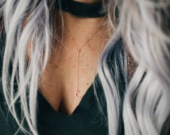 Lariat necklace - lariat necklace gold - rose gold lariat necklace - y necklace - drop necklace - layering necklace - moon necklace -